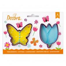 Sausainių formelės drugelis ir gėlė