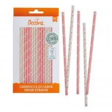 Popieriniai šiaudeliai  balti-rožiniai, 80vnt.