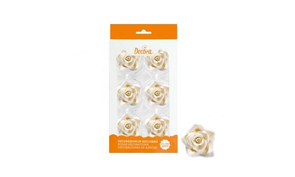 Cukrinės dekoracijos - didelės baltos rožės