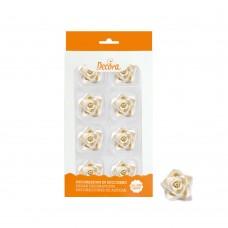 Cukrinės dekoracijos - vidutinės baltos rožės