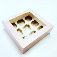 Dėžutė 9 keksiukams rožinės spalvos