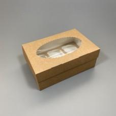 Rudos dėžutės keksiukams su langeliu, pasirinkite dydį