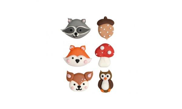 Cukrinės dekoracijos Miško gyvūnai