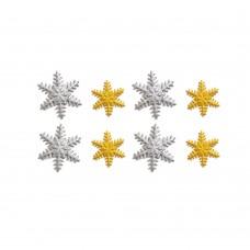 Cukrinės dekoracijos Aukso/Sidabro snaigės