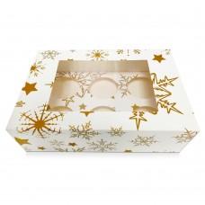 Baltos dėžutės su snaigėmis keksiukams su langeliu