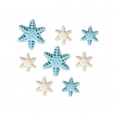 Cukrinės dekoracijos Baltai mėlynos snaigės