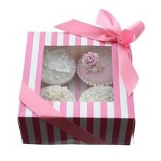 Rožinė su baltu prabangi dryžuota keksiukams dėžutė, pasirinkite dydį