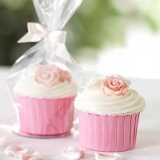 Rožinės spalvos keksiukų krepšeliai 25vnt