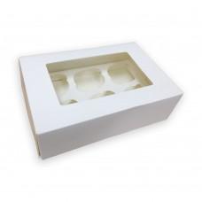 Baltos dėžutės keksiukams su langeliu, pasirinkitei dydį